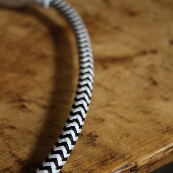 Fabric Extension Cord - Black and White, Color Cord Co.