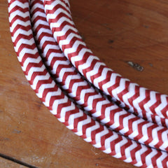 Fabric Extension Cord - Red and White, Color Cord Co.