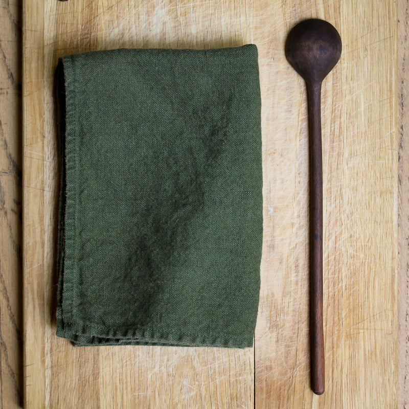Heavy Linen Dish Towel - Olive Green