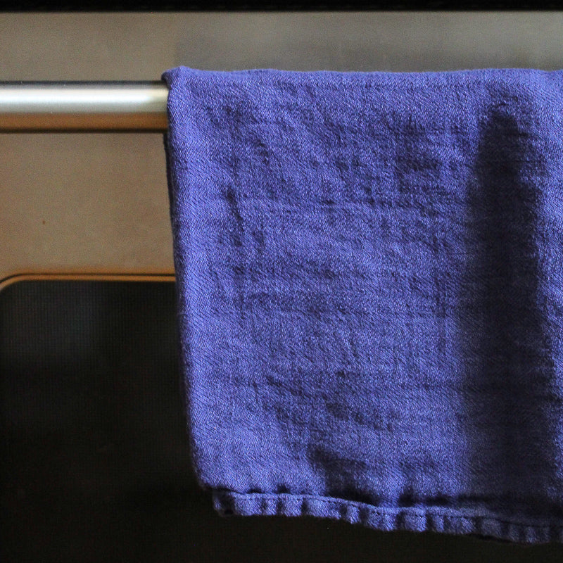 Linen Dish Towel - Blue Herringbone