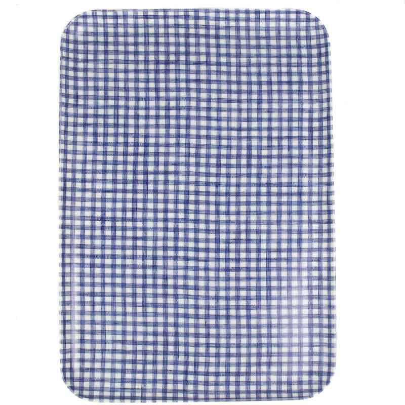 Linen Tray - Blue and White Check Lg