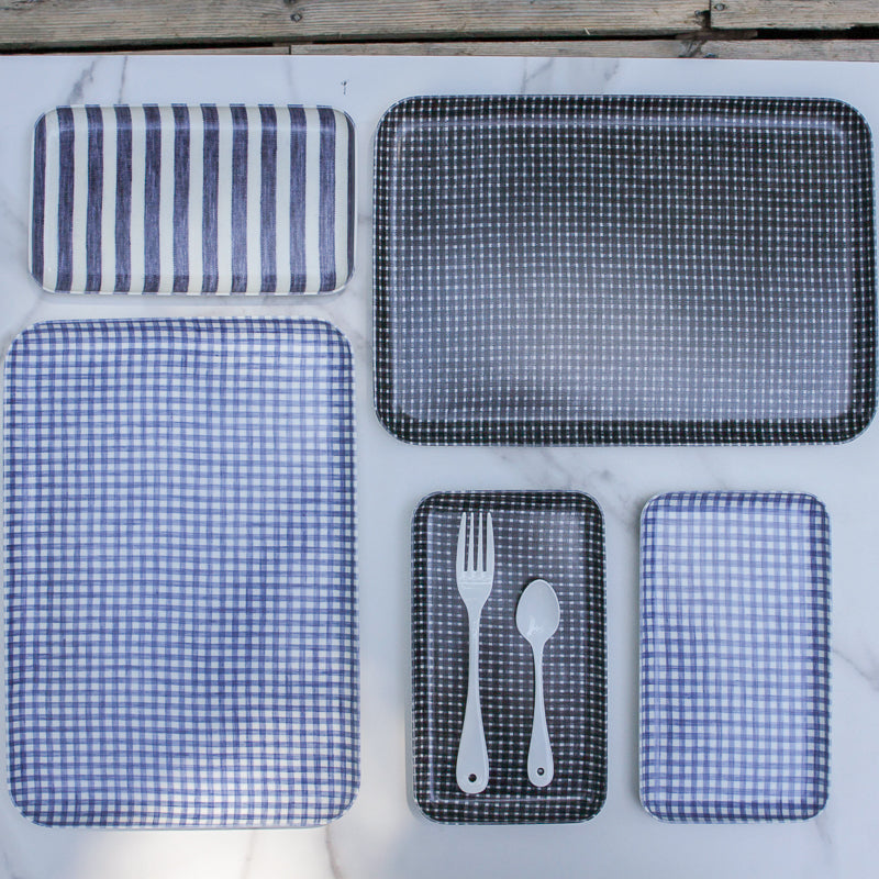 Linen Tray - Blue and White Check Sm
