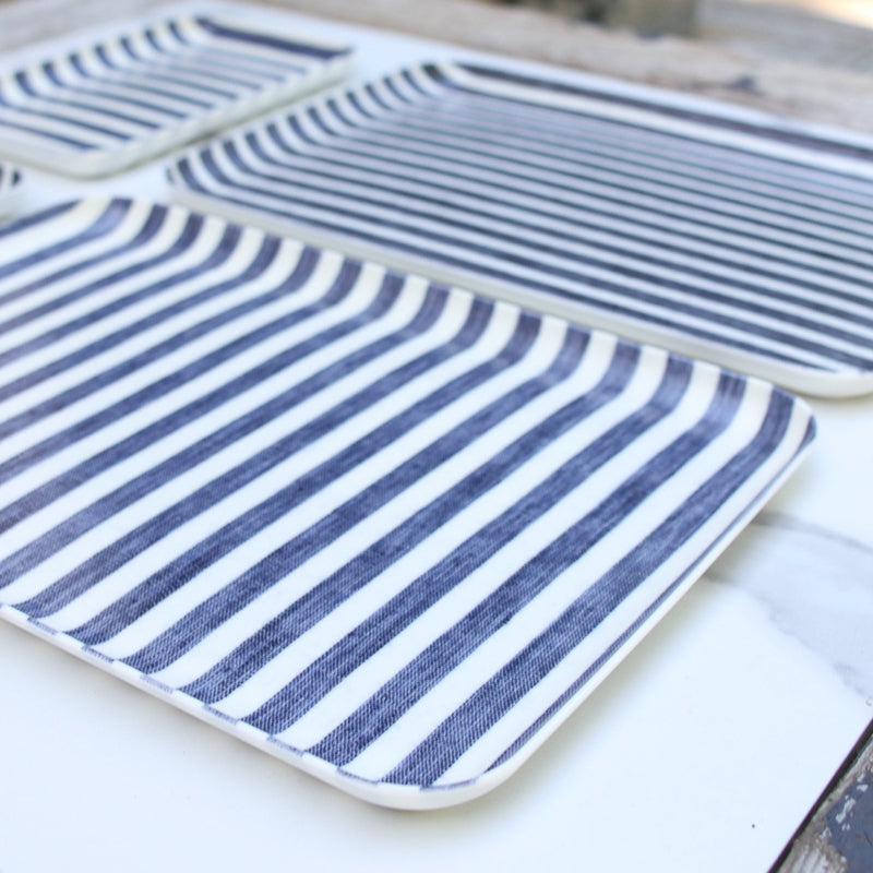 Linen Tray - Blue and White Stripes Lg