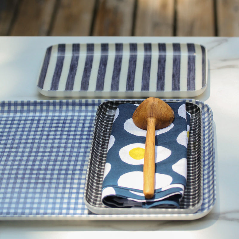 Linen Tray - Blue and White Stripes Sm
