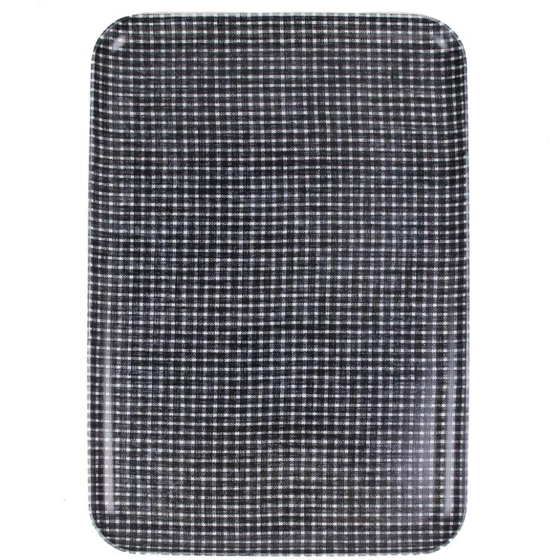 Linen Tray - Dark Blue and White Squares Lg