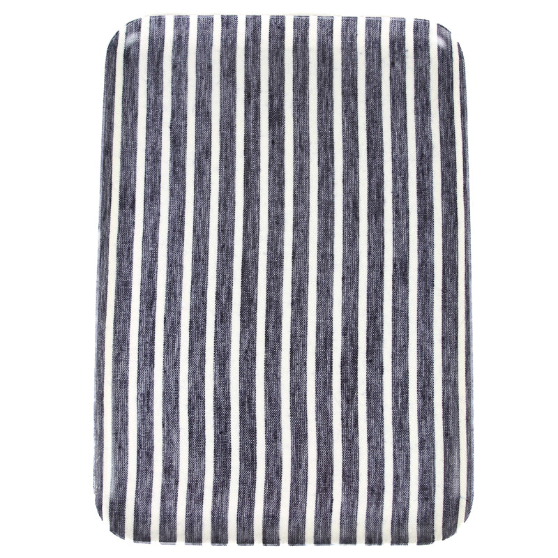 Linen Tray - Dark Blue and White Stripes Lg