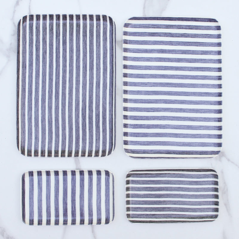 Linen Tray - Dark Blue and White Stripes Sm