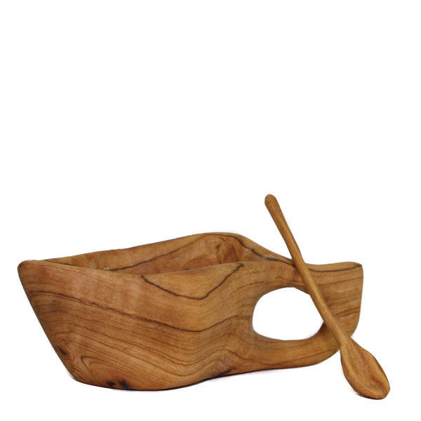 Olivewood Spice Bowl with Mini Spoon