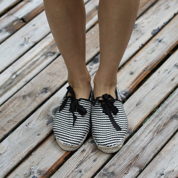 espadrilles made in France black and white stripes lace-up