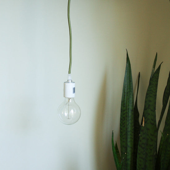 Porcelain Pendant Light Cord Set - Olive, Color Cord Co.