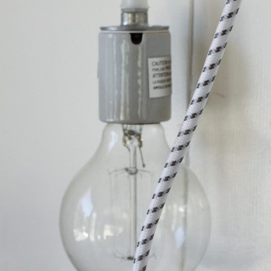 Porcelain Pendant Light Cord Set - White/Grey Dot, Color Cord Co.