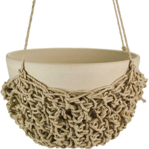 Stoneware Hanging Planter with Crochet Basket