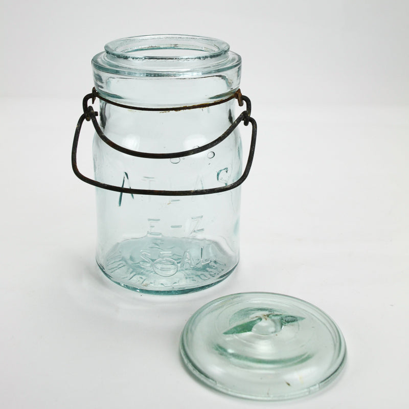 Vintage Atlas E-Z Seal Blue Glass Storage Jar