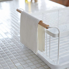 Wooden Handled Dish Rack with Tray
