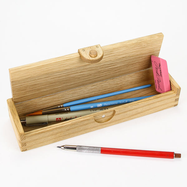Wooden Oak Pencil Box