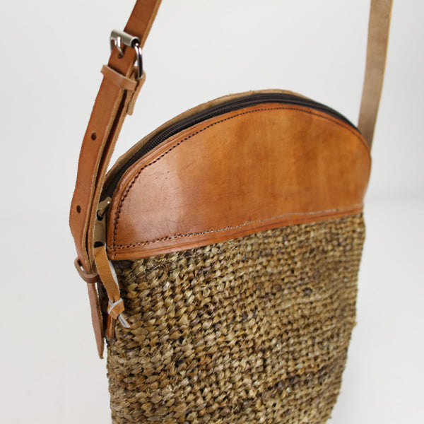 Woven Handbag with Leather Top