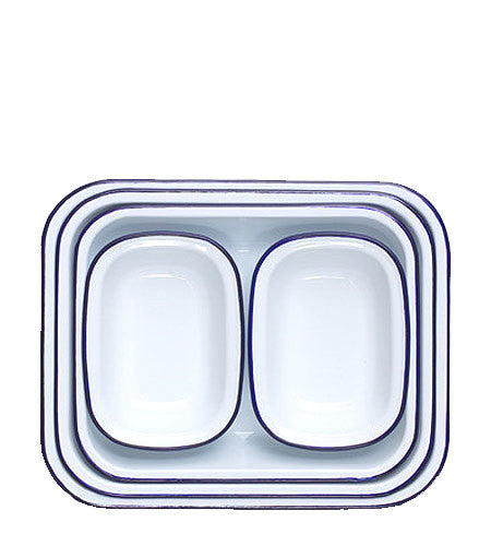 Enamel Bake Set - Blue Rim