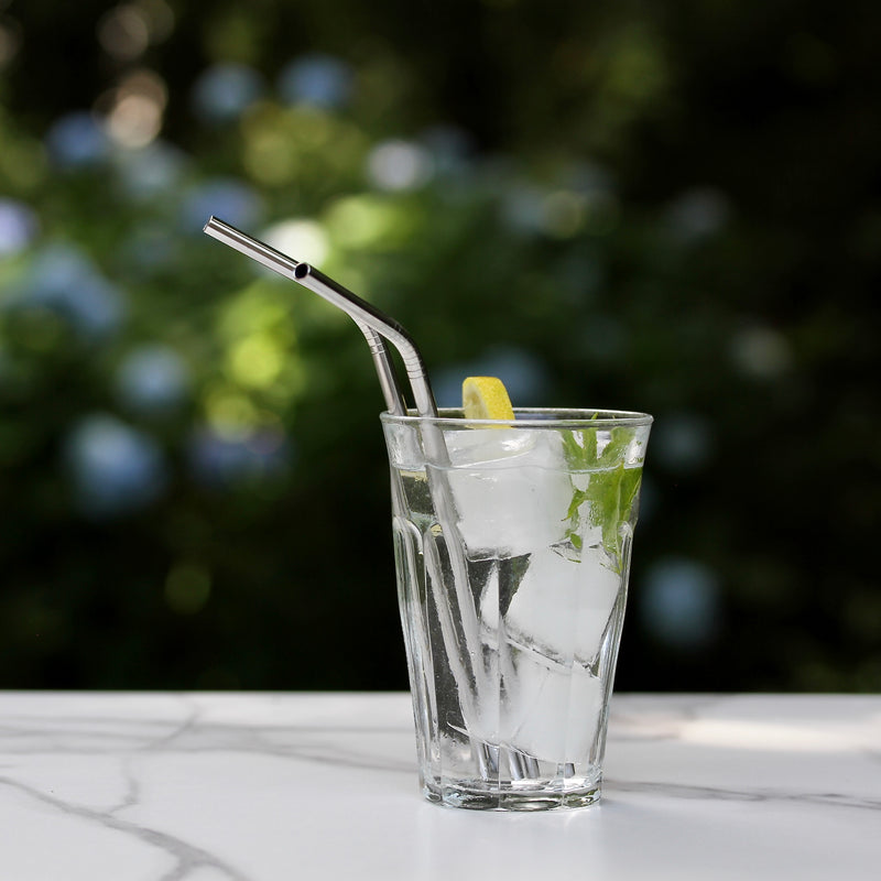 Six Stainless Steel Straws
