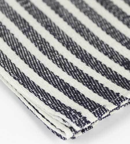 Heavy Linen Dish Towel - Navy Stripes