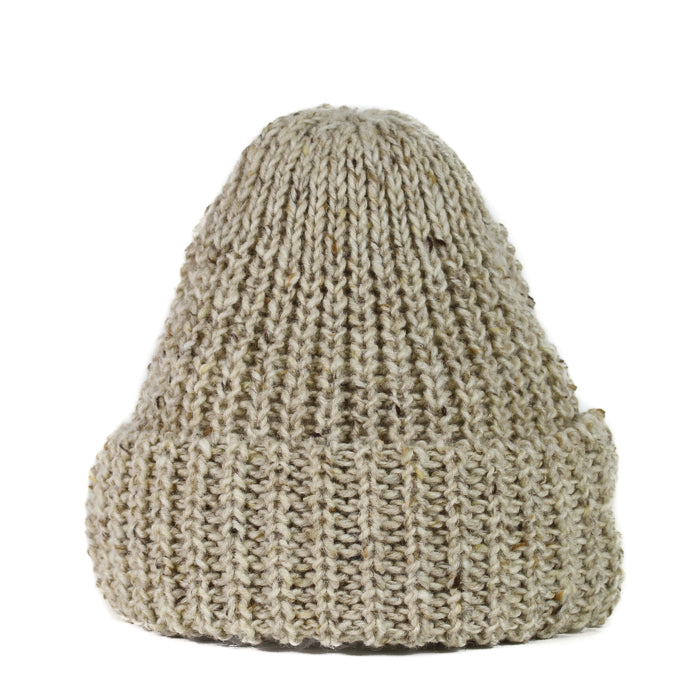 Fisherman Knit Hat - Oatmeal Tweed