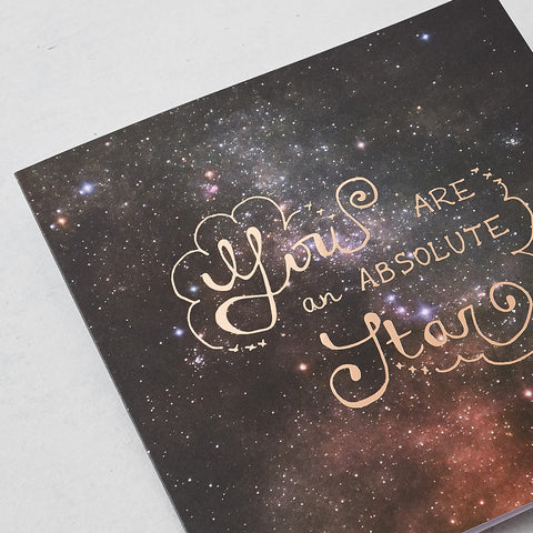 You Are An Absolute Star, Photographic card with Rose Gold Foil