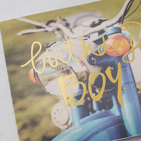 Birthday Boy, Retro Bike, Photographic Card with Gold Foil