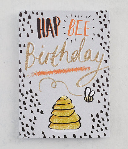 Hap-Bee Birthday. Card with Gold Glitter