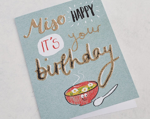 Miso Happy It's Your Birthday. Card with Gold Glitter