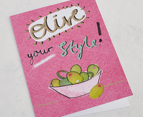 Olive Your Style! Card with Gold Glitter
