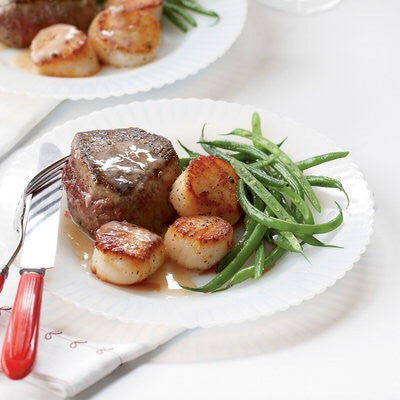 filet and scallops/champagne butter sauce