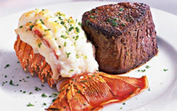 steak au poivre and broiled lobster