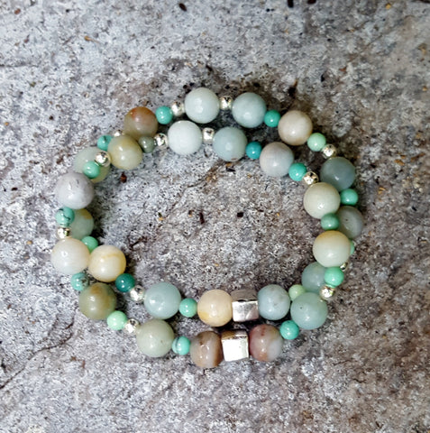 Amazonite and Chrysoprase bracelet for luck, forgiveness, and co dependance