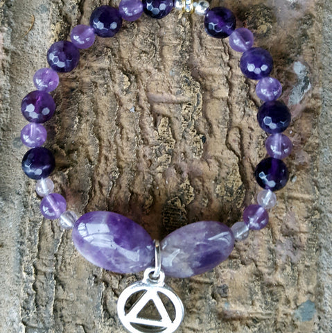 Amethyst Bracelet with Sobriety charm bracelet - Naked Fairy Apothecary