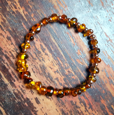 Baltic Amber bracelet, crystal and gemstone healing jewelry for inflammation and pain