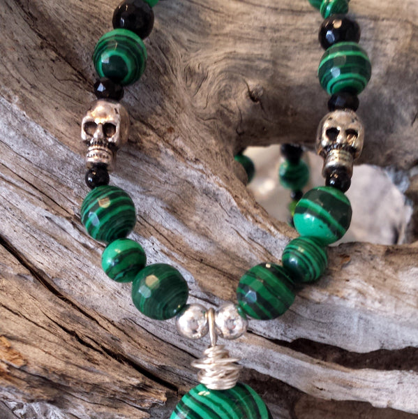 Malachite Protection Necklace-with skulls necklace - Naked Fairy Apothecary