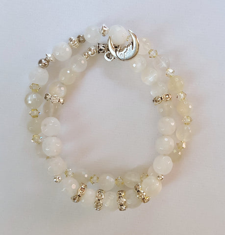 Moonstone and crystal bracelet for your inner Goddess