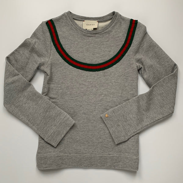 Gucci Girls Grey Sweatshirt With Ribbon Trim Secondhand Preloved Used