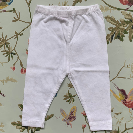 Bonpoint Pure White Cotton Leggings: 3 Months