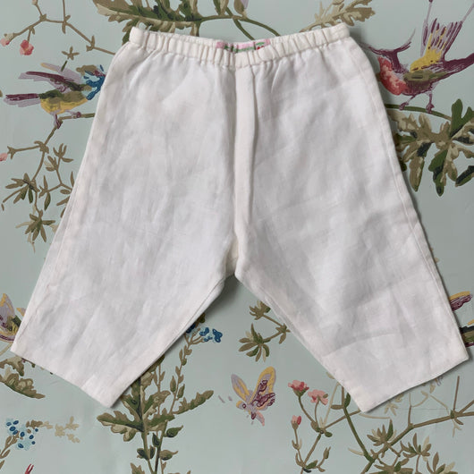 Bonpoint White Linen Trousers: 3 Months