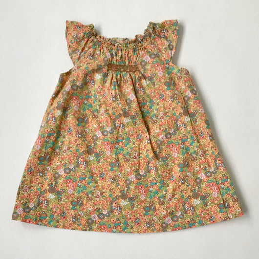 Bonpoint Orange Tone Liberty Print Dress With Smocking: 12 Months