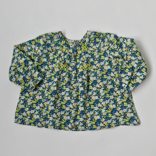 Bonpoint Green Liberty Print Smocked Blouse: 18 Months
