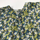 Bonpoint Green Liberty Print Smocked Blouse