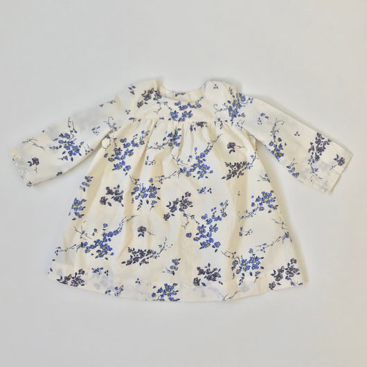 Bonpoint Cream And Blue Floral Dress
