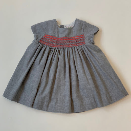 Bonpoint Grey Duchesse Dress With Apricot Smocking: 18 Months