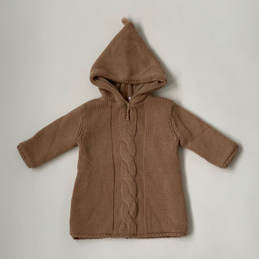 Bonpoint Light Tobacco Hooded Burnou Cardigan: 18 Months