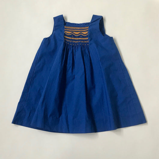 Bonpoint Royal Blue Sundress With Ochre Smocking