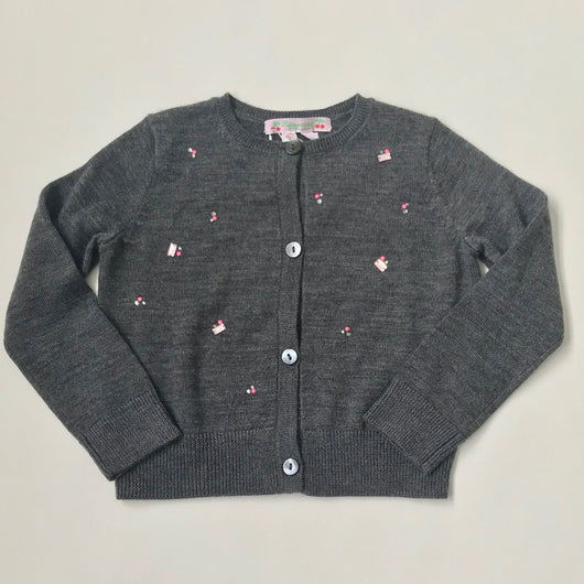 Bonpoint Grey Wool Cardigan With Jewel Embellishments: 4 Years