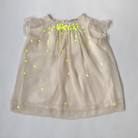 Bonpoint Cream Silk Chiffon Dress With Neon Sequins: 3 Years (Brand New)