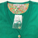 Bonpoint Green Cotton Cardigan With Liberty Print Trim