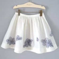Bonpoint Cream Cotton Skirt With Blue Floral Embroidery